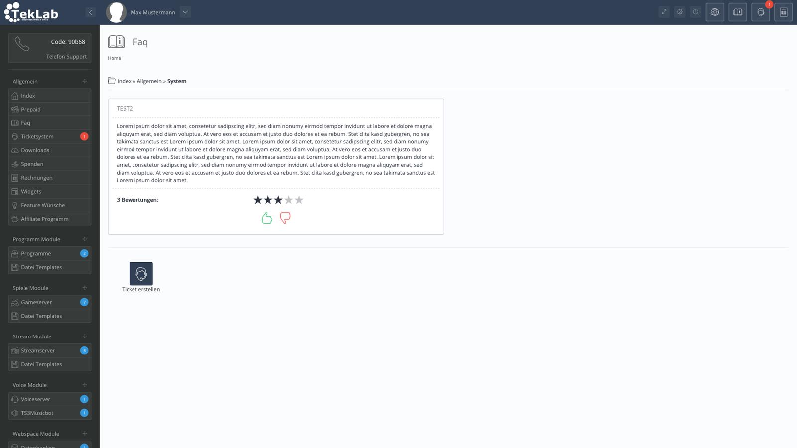 TekBASE Kundenbereich - FAQ