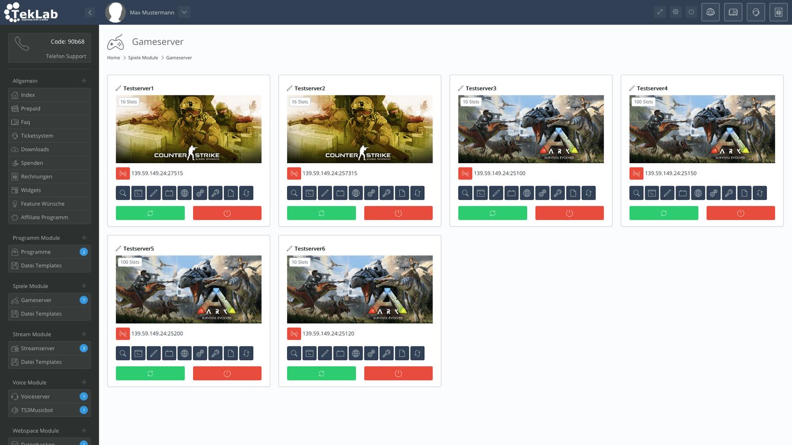 TekBASE Kundenbereich - Gameserver