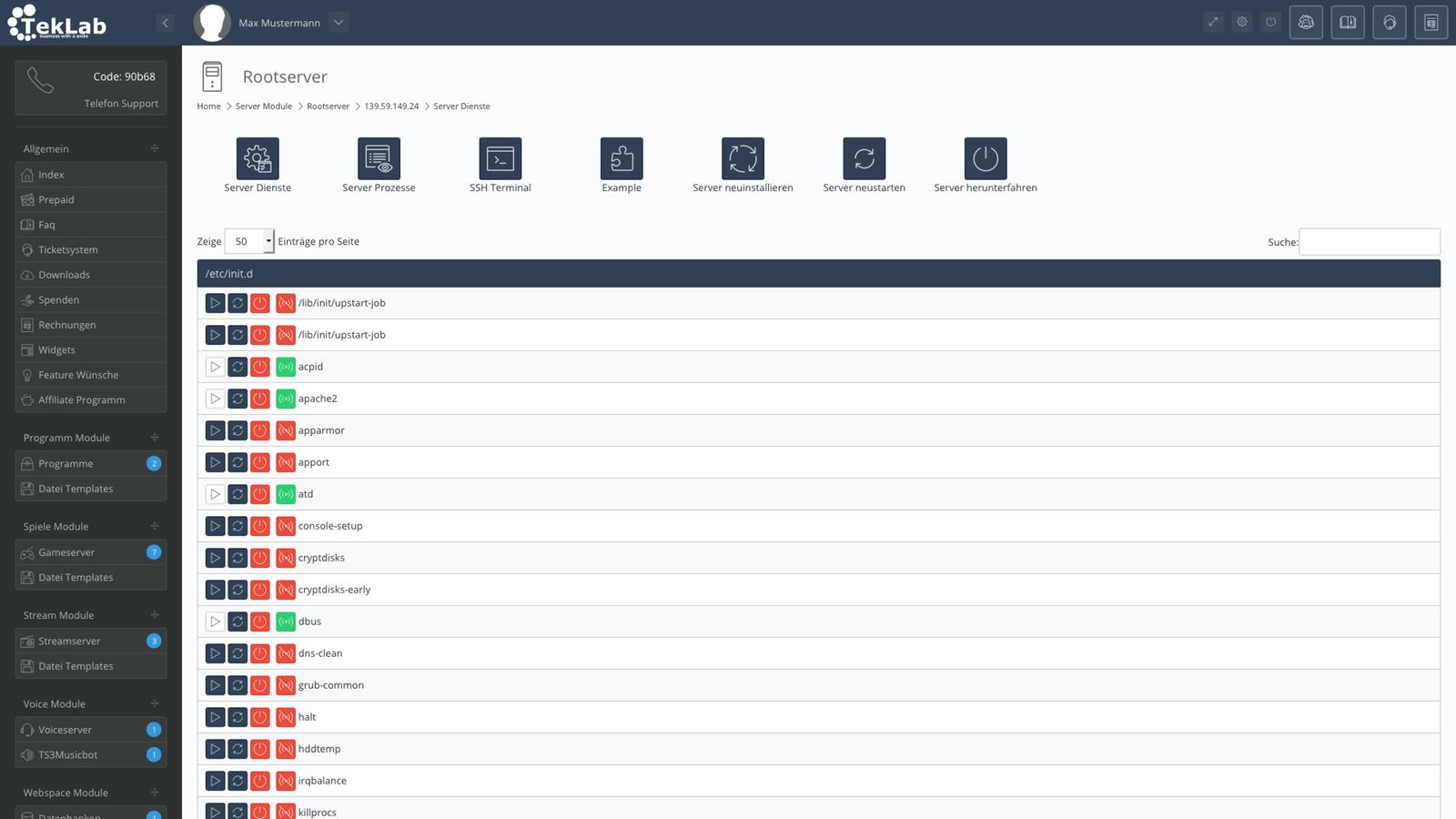 TekBASE Kundenbereich - Server Dienste