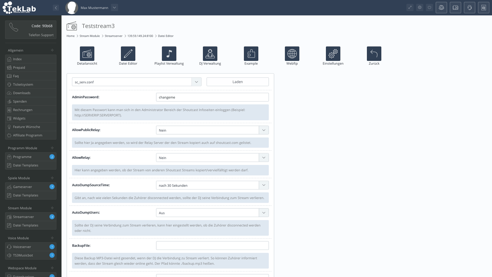 TekBASE Kundenbereich - Streamserver Editor