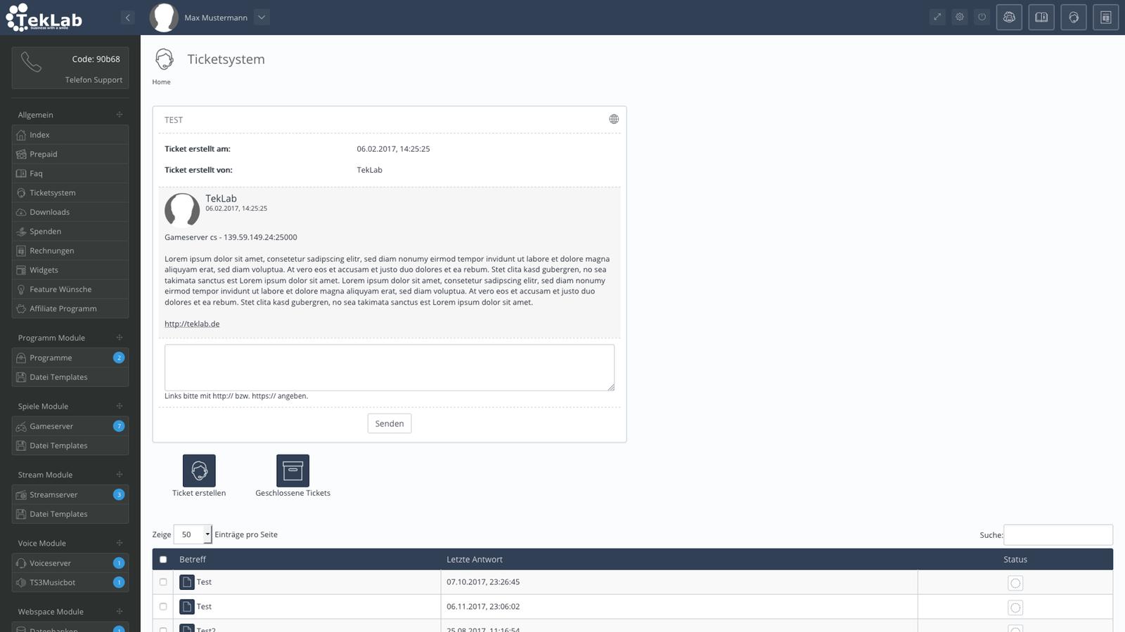 TekBASE Kundenbereich - Ticketsystem